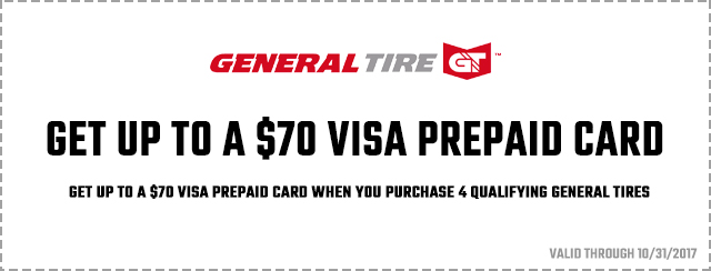 General Tire – Get Up To A $70 Visa Prepaid Card Coupon