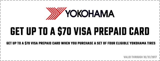 Yokohama – Get Up To A $70 Visa Prepaid Card Coupon