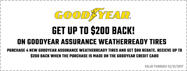 Goodyear – Get Up To $200 Back on Goodyear Assurance WeatherReady Tires. Coupon