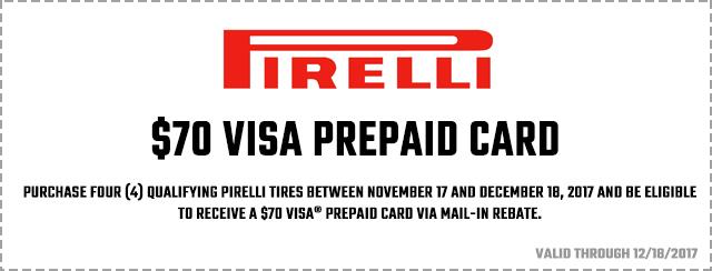 Pirelli Winter 2017 Consumer Promotion Coupon