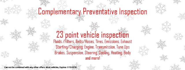 Complimentary Preventative Inspection Coupon