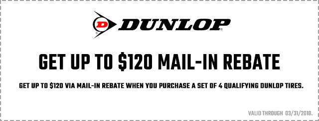 Dunlop Tires Rebate 2018 Coupon