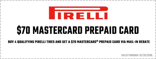 Pirelli $70 Mastercard Prepaid Card Coupon
