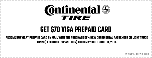 Get $70 visa card when you buy 4 qualifying tires Coupon