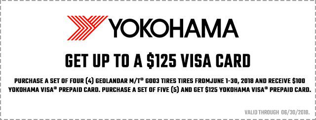 Get up to a $125 visa card when you buy a set of Geolandar M/T G003 Tires