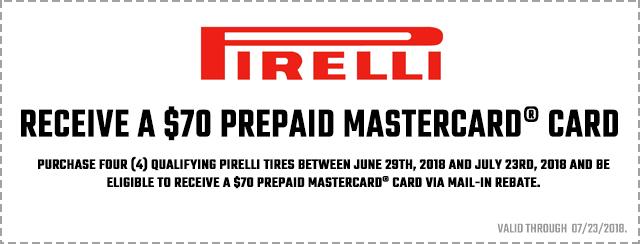 Pirelli 2018 Summer Promotion Coupon