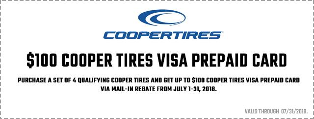 Cooper Tires Summer Reward Offer 2018 Coupon