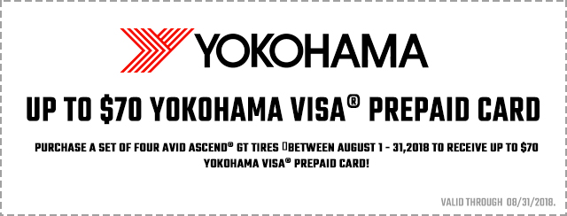 Yokohama Avid Ascend GT Rebate Coupon