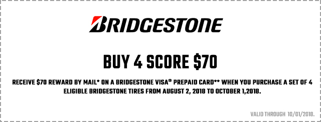 Bridgestone Fall Promotion 2018 Coupon