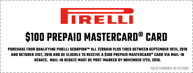 Pirelli Fall 2018 Consumer Promotion Coupon