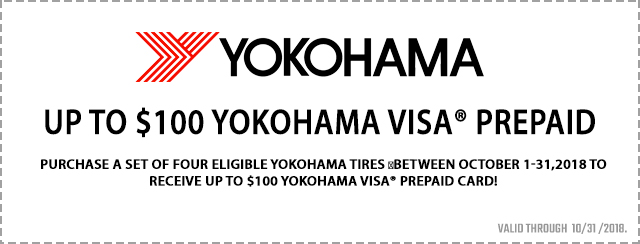 Up to $100 Yokohama Visa® Prepaid Card Coupon