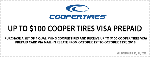 Up to $100 Cooper Tires Visa Prepaid Card Coupon