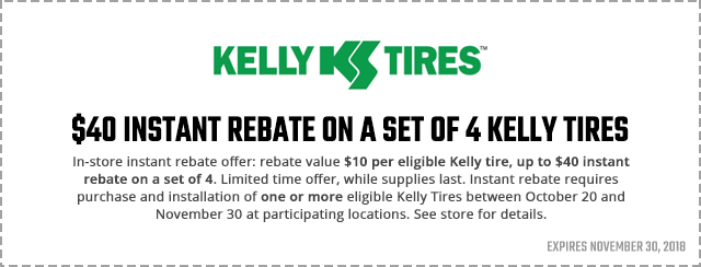 Kelly Tires Rebate Coupon