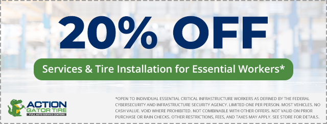 20% off Services & Tire Installation for Essential Workers Offer