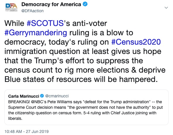 While #SCOTUS's anti-voter #Gerrymandering ruling is a blow to democracy, today's ruling on #Census2020 immigration question at least gives us hope that the Trump's effort to suppress the census count to rig more elections & deprive Blue states of resources will be hampered.