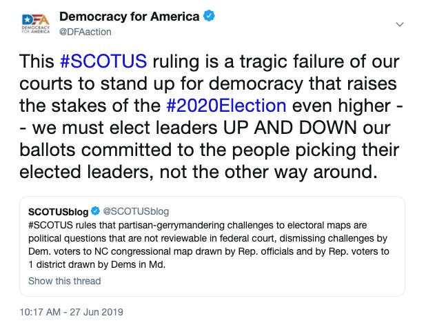 This #SCOTUS ruling is a tragic failure of our courts to stand up for democracy that raises the stakes of the #2020Election even higher -- we must elect leaders UP AND DOWN our ballots committed to the people picking their elected leaders, not the other way around.