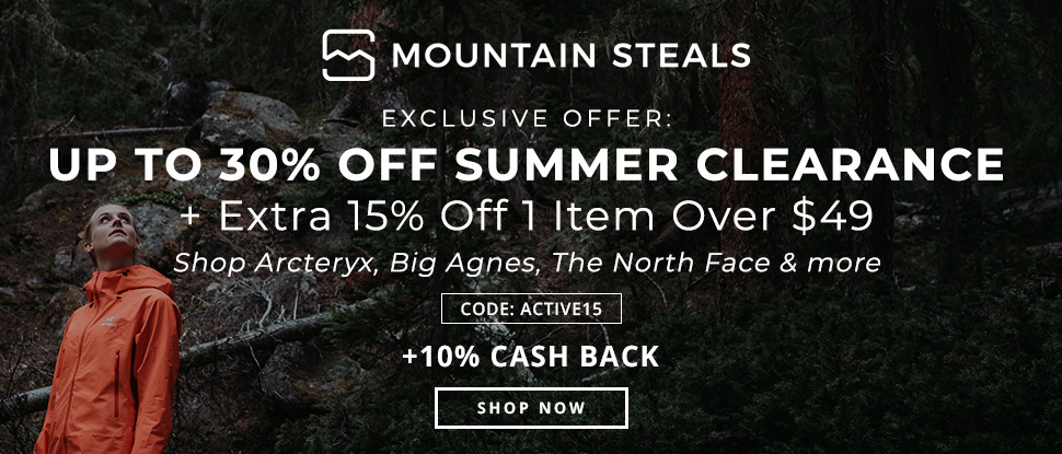Exclusive Offer: Up to 30% off Summer clearance + Extra 15% off 1 item over $49. Shop Arcteryx, Big Agnes, The North Face & more