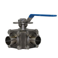 3-Way Hygienic Manually Operated Weld OD Ball Valves Stainless Steel