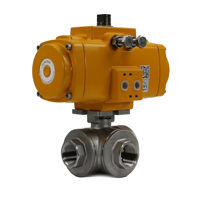 3-Way Screwed Stainless Steel Pneumatic Actuation Ball Valves Elomatic