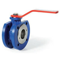 Flanged PN16 Cast Iron Ball Valves RPTFE Seats Wafer Pattern Lever OP