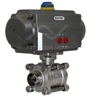 Weld OD Hygienic Stainless Steel Pneumatic Actuated Ball Valve 3 PCE