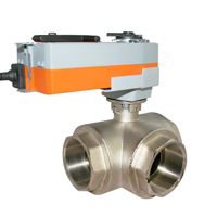 Electrically Actuated 3 Way Ball Valves Brass Spring Return Actuator