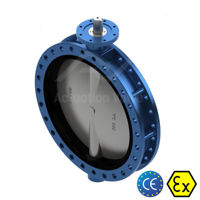 Flanged DN300 TTV Butterfly Valves Ductile Iron Body Soft Seat Manual
