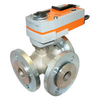 Flanged PN16 Brass Multiport Spring Return Electric Ball Valves 3 Way