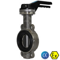 Wafer Pattern Stainless Steel TTV Butterfly Valves Soft Seat Manual