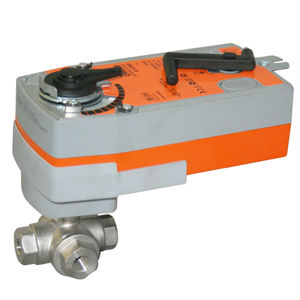 3 Way SS RPTFE Seat Spring Return Electric Actuated Ball Valves PN63