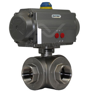 3-Way Screwed Stainless Steel Pneumatic Actuated Ball Valves SIL Rated