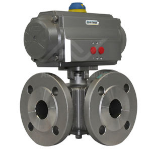3-Way Ball ANSI 150 FB SS Multiport Pneumatic Air Actuated Water Valve