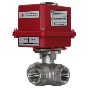 3-Way Electric Actuated Motorised Ball Valves Stainless Steel L Port