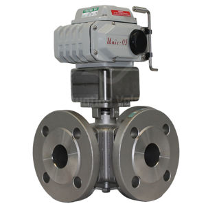 3-Way Electric Operated Water Valve ANSI 150 Motorised Full Bore SS