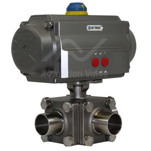3-Way Hygienic Actuated Ball Valves CF3M 316L Weld Ends Polished Bore