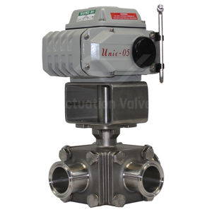 3-Way Hygienic Clamp Ends Electric Actuated Ball Valves With Override