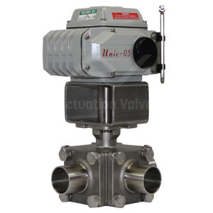 3-Way Hygienic Koei Unic Electric Actuated Ball Valves Weld OD Ends FB