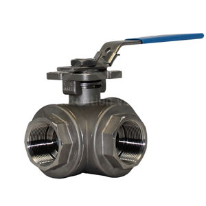 3-Way Reduced Port Manual Operated Stainless Steel Ball Valves Screwed