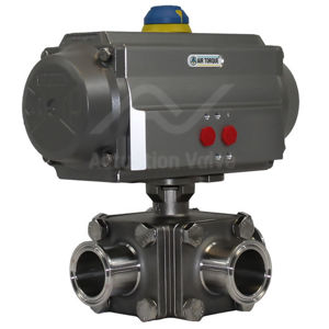 3-Way Sanitary Tri Clamp Air Actuated Water Valves SS Sil Rated Atex