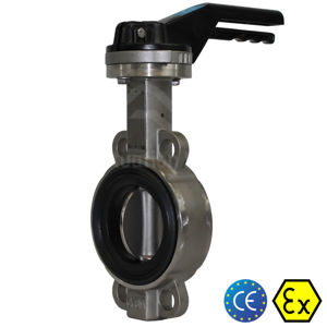 6 Inch 150MM Butterfly Valves Stainless Steel CF8M Body Soft Seat Atex