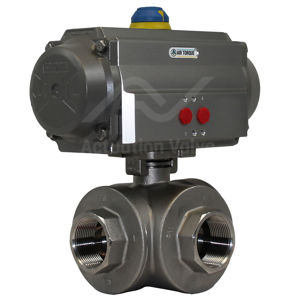 Air Actuated Water Valves 3-Way Screwed SS Pneumatic SIL Air Torque