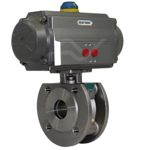 Wafer Flanged Stainless Steel Pneumatic Actuated Ball Valve 2 PCE PN40