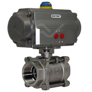 Screwed Stainless Steel Pneumatic Actuated Ball Valve 3 PCE Full Bore