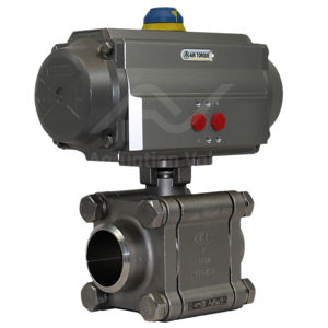 Welded Heavy Duty Stainless Steel Pneumatic Actuated Ball Valve 3 PCE