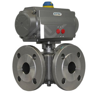 3-Way Multi Port PN16 Stainless Steel Pneumatic Actuated Ball Valve