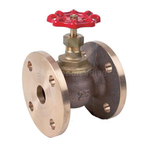 Bronze Globes Valve Manual Red Handwheel Operated PN16 Or Table F