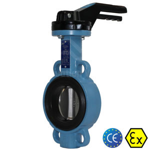 Wafer Pattern 2 Inch Butterfly Valves Epoxy Coated Body Atex Approved
