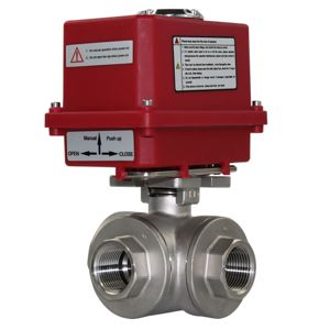 Electric Actuated Motorised 3-Way Ball Valve Stainless Steel Full Bore