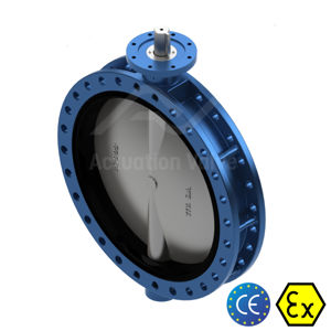 Flanged TTV WCB Butterfly Valves Manually Operated Blue Epoxy Coating