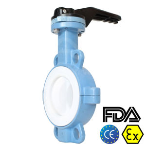 Full PTFE Lined 6 Inch Wafer Butterfly Valves Atex And FDA Approved